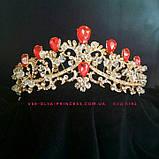 Диадема,  корона под золото с синими камнями, тиара, высота 6 см., фото 4