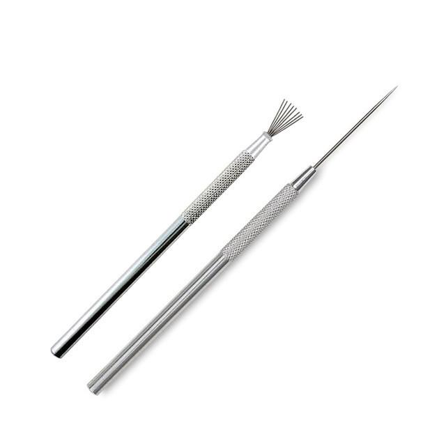 Набор инструментов стеков для лепки игла+метелка, металл, 2шт.