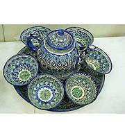 Чайный сервиз на 6 персон  Риштан. Узбекский чайный сервиз.