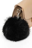 Брелок з натурального хутра (польський кролик) в п'яти кольорах. Чорний.
