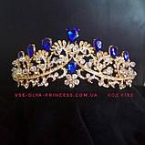 Диадема,  корона под золото с красными камнями, тиара, высота 6 см., фото 3