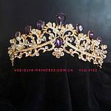 Диадема,  корона под золото с красными камнями, тиара, высота 6 см., фото 6