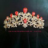 Диадема,  корона под золото с фиолетовыми камнями, тиара, высота 6 см., фото 3