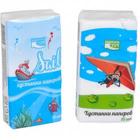 Салфетки-платочки бумажные, однослойные «Детская»  КРА2Р 40 штук