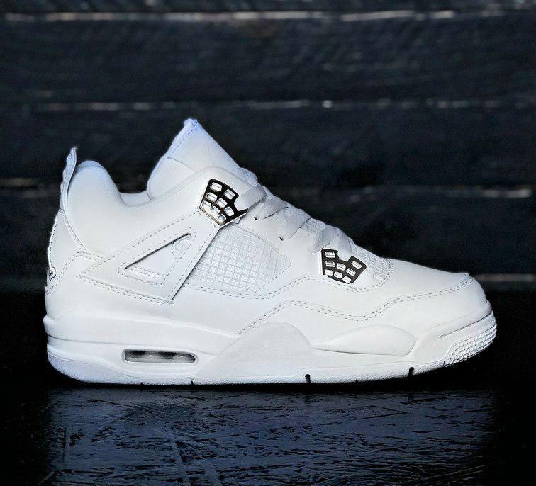 Air Jordan 4 Pure Money   кроссовки мужские  белые  кожаные - BOOT CLUB в 317a80dece6