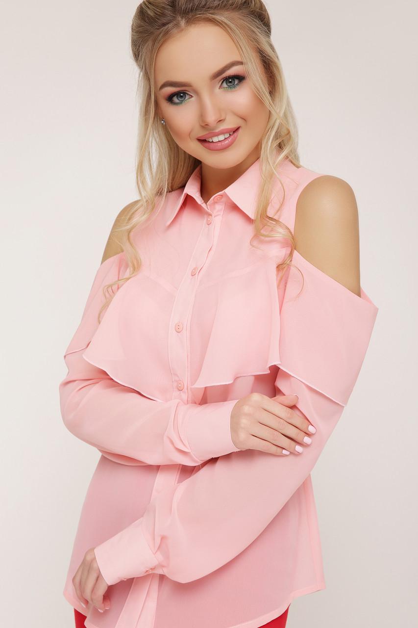 Нарядная рубашка блузка шифоновая с воланом розовая
