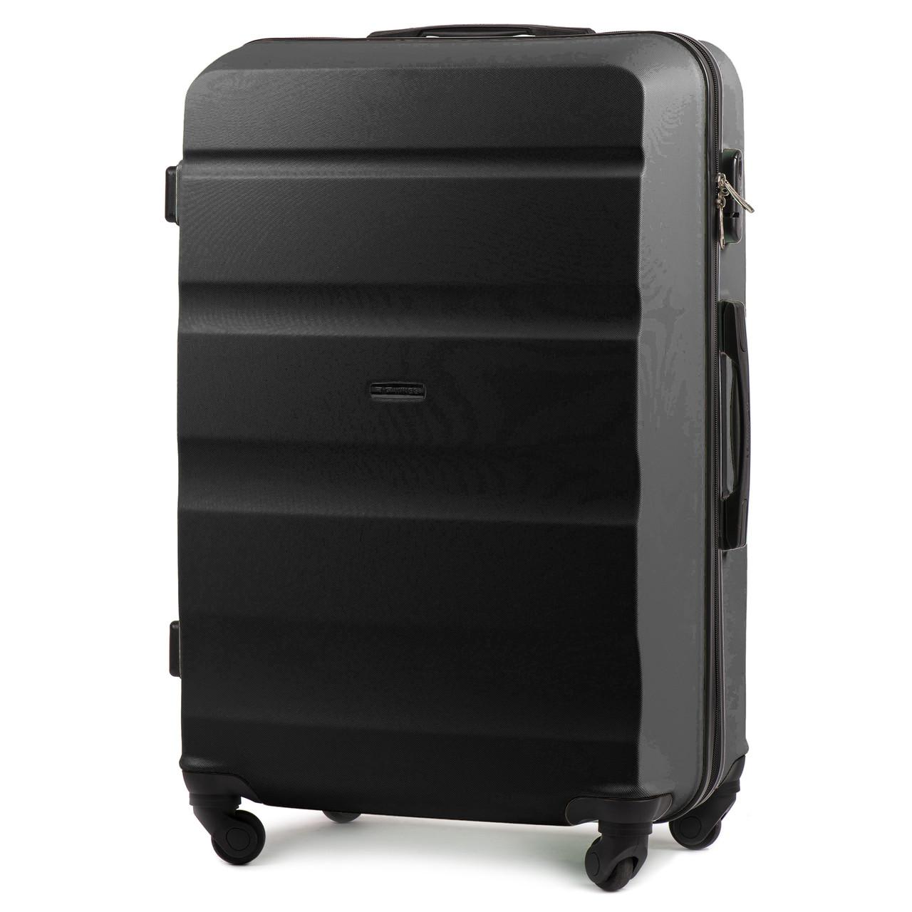 Малый пластиковый чемодан Wings AT01 на 4 колесах черный