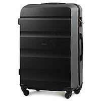 Малый пластиковый чемодан Wings AT01 на 4 колесах черный, фото 1