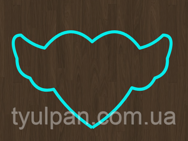 Вырубка кондитерская для пряника мастики марципана сердечко с крыльями