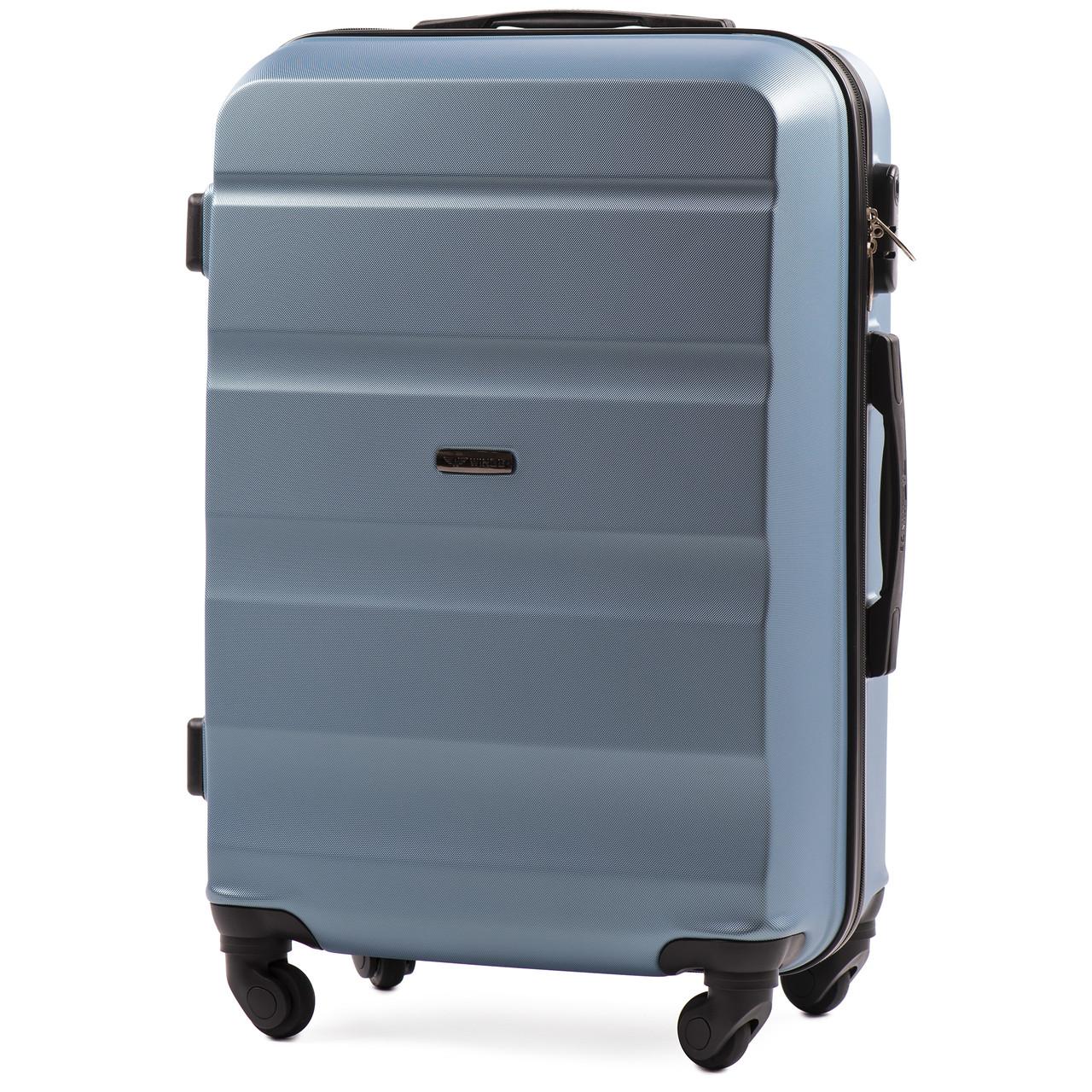 Малый пластиковый чемодан Wings AT01 на 4 колесах синий