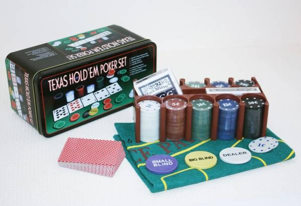Покерный набор на 200 фишек с номиналом + сукно (жестяная коробка), фото 2