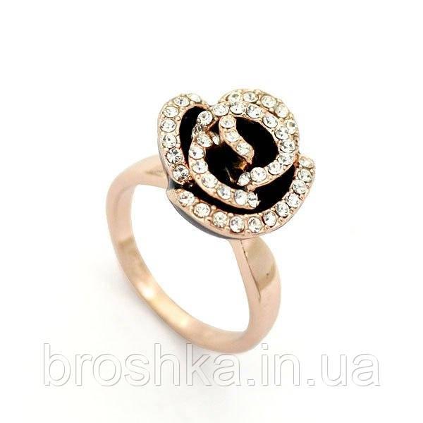 Кольцо цветок розы с чёрной эмалью и Swarovski ювелирная бижутерия