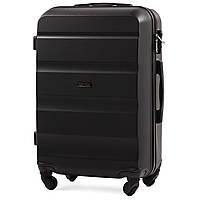 Микро пластиковый чемодан Wings AT01 на 4 колесах черный