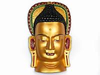 Маска Этническая. Непал. Дерево. Будда (36х22х8 см) Золотисто-желтый