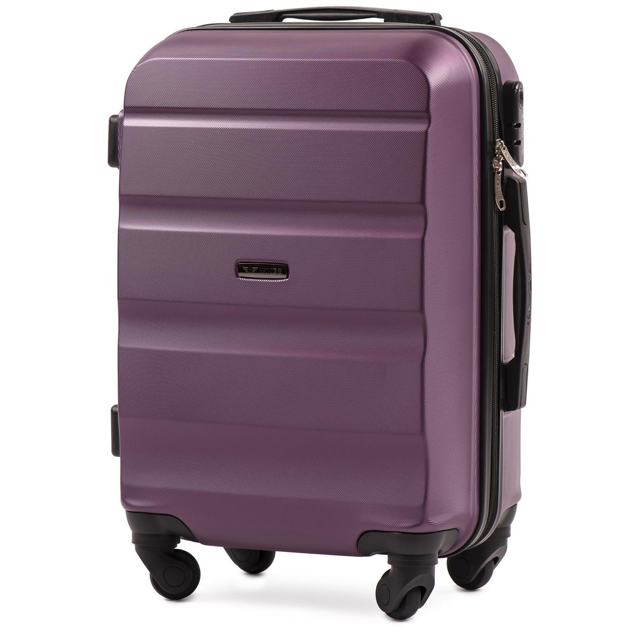 Микро пластиковый чемодан Wings AT01 на 4 колесах фиолетовый