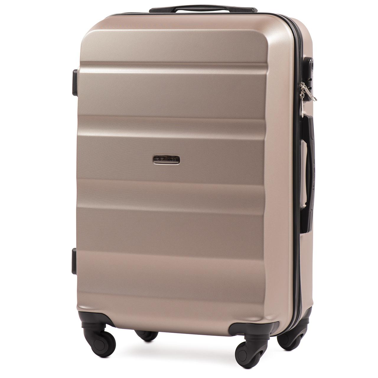 Микро пластиковый чемодан Wings AT01 на 4 колесах золотистый, фото 1