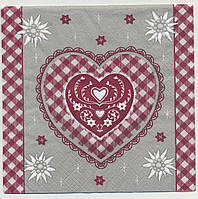 """№ 39 Салфетка для декупажа или сервировки стола """"Валентинка. Красное клетчатое сердце."""""""