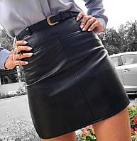 Юбка женская из эко-кожи мини с поясом черная, фото 1