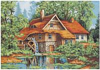 """Набор для вышивания крестиком (пейзаж) """"Мельница в лесу"""""""