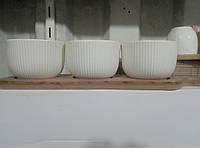 Керамический набор соусниц 3шт+бамбуковая подставка