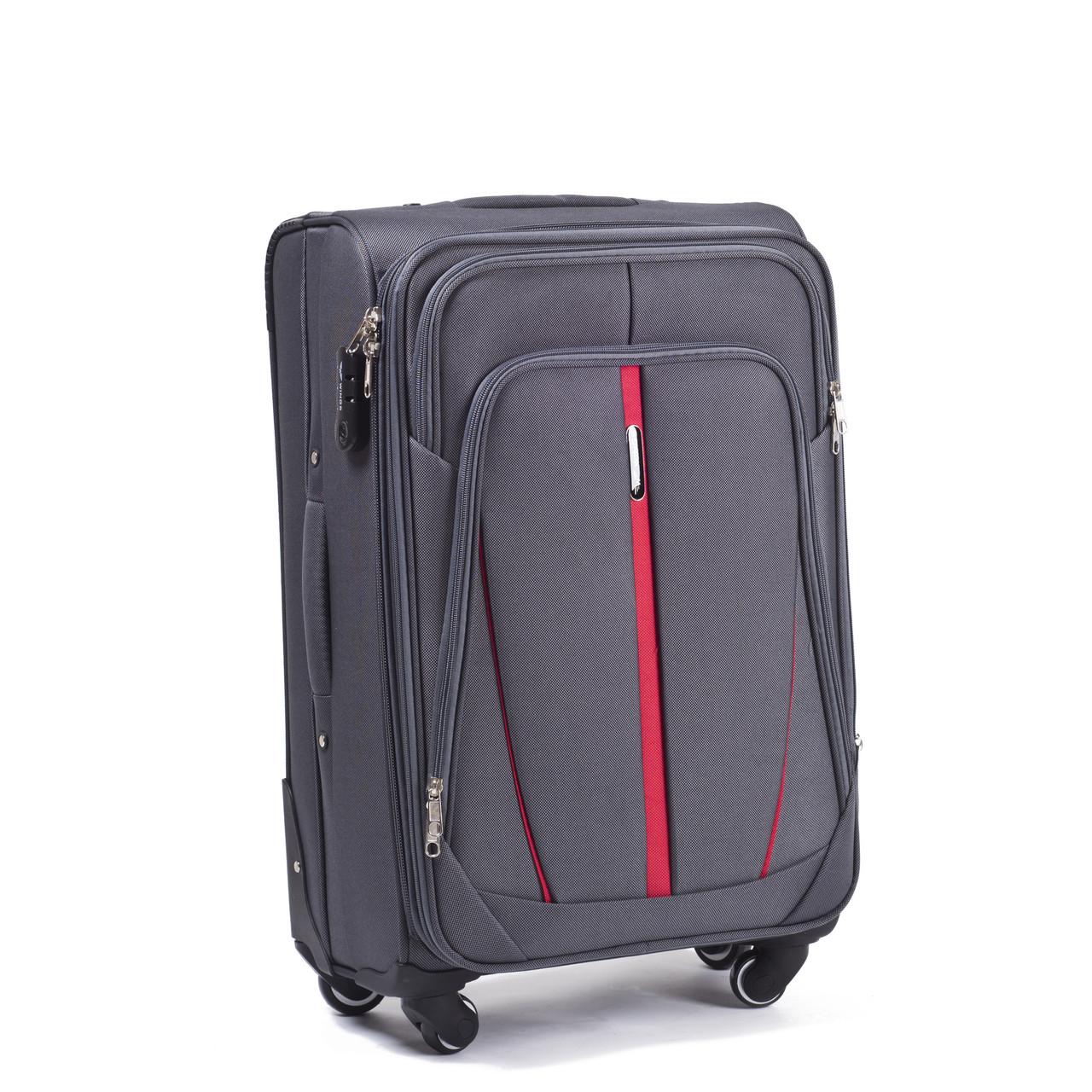 Большой тканевый чемодан Wings 1706 на 4 колесах серый