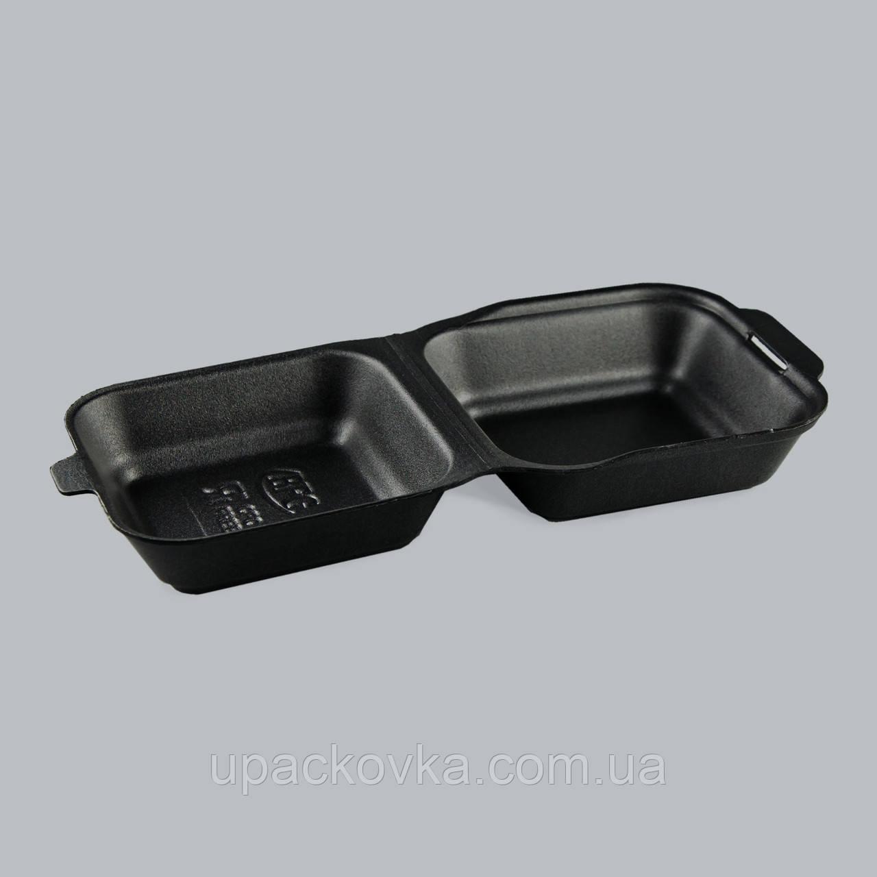 Ланч-бокс (СЕНДВИЧ) ЧЕРНЫЙ с крышкой, без делений из вспененного полистирола  150x150x70 мм.