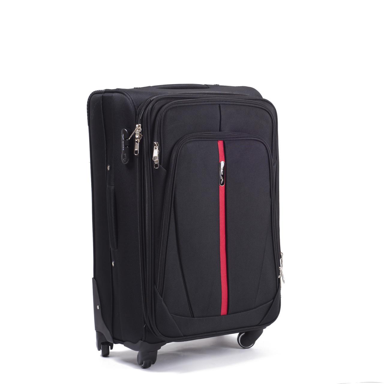 Большой тканевый чемодан Wings 1706 на 4 колесах черный, фото 1