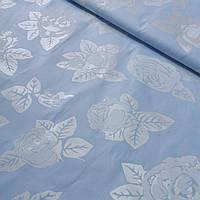 Твк для напірників з срібними квітами на блакитному тлі, ширина 150 см