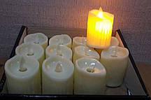 Світлодіодна свічка з мерехтливим полум'ям бежева 7 см