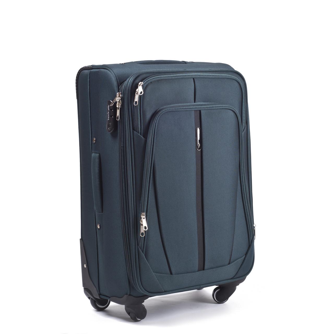Средний тканевый чемодан Wings 1706 на 4 колесах зеленый