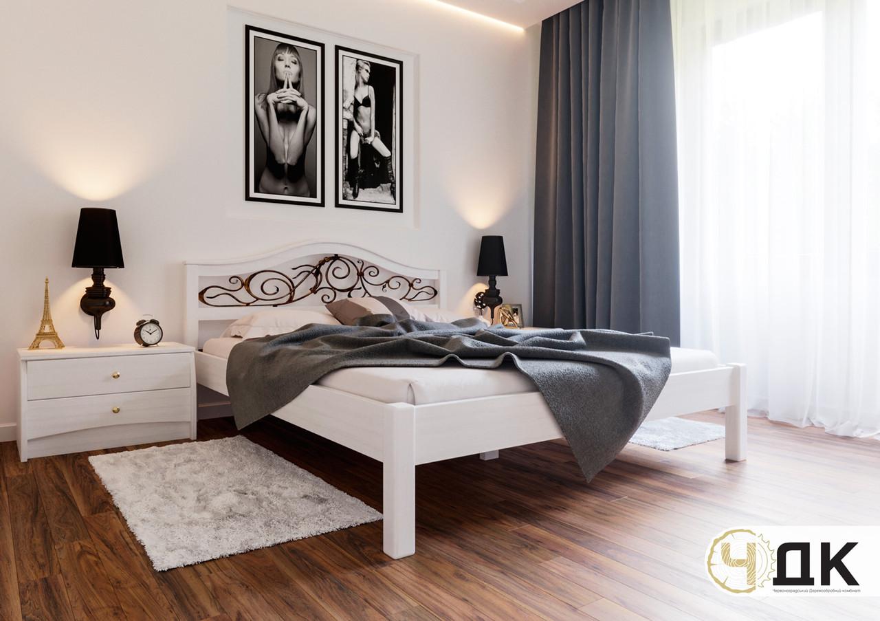 Деревянная кровать Италия с ковкой ЧДК