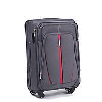 Малый тканевый чемодан Wings 1706 на 4 колесах серый