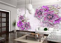 """Фотообои """"3D сиреневые цветы"""""""