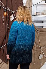 Теплый свитер под горло для полных женщин Снег бирюза, фото 2
