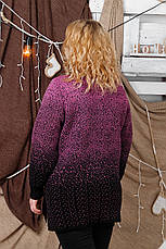 Красивый вязаный свитер больших размеров Снег фрез, фото 3