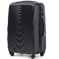Большой пластиковый чемодан Wings 304 на 4 колесах черный