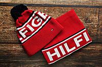 Мужская Шапка с бубоном и Бафф красная,комплект шарф и шапка