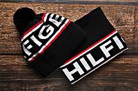 Мужская Шапка с бубоном и Бафф черная,комплект шарф и шапка