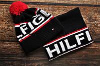 Мужская Шапка с красным бубоном и Бафф черная,комплект шарф и шапка