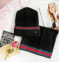 Вязанная шапка и шарф-хомут женские