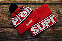 Брендовый комплект шапка + бафф мужской Суприм красный