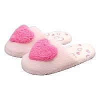 Тапочки-шлепанцы комнатные с сердечком размер 38-39 розовые GS699-1