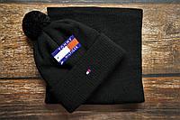 Мужская шапка и шарф(бафф) стильная черная Томми