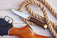 Байкал нескладной нож для охоты рыбалки туризма длина 24.5 см рукоять металл дерево чехол из кожи