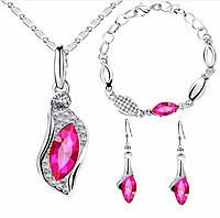 Комплект украшений Элегантный/серьги, подвеска с цепочкой и браслет/бижутерия/цвет серебро, розовый