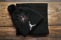 Мужская шапка и шарф(бафф) стильная черная Джордон
