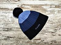 Мужская шапка на флисе полосатая Columbia черно-синяя