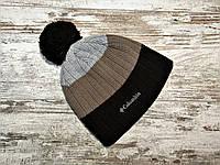 Мужская шапка на флисе полосатая Columbia черно-коричневая