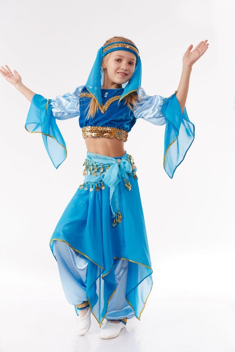 Костюм карнавальный Восточная красавица голубого цвета для девочки