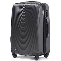 Большой пластиковый чемодан Wings 304 на 4 колесах серый